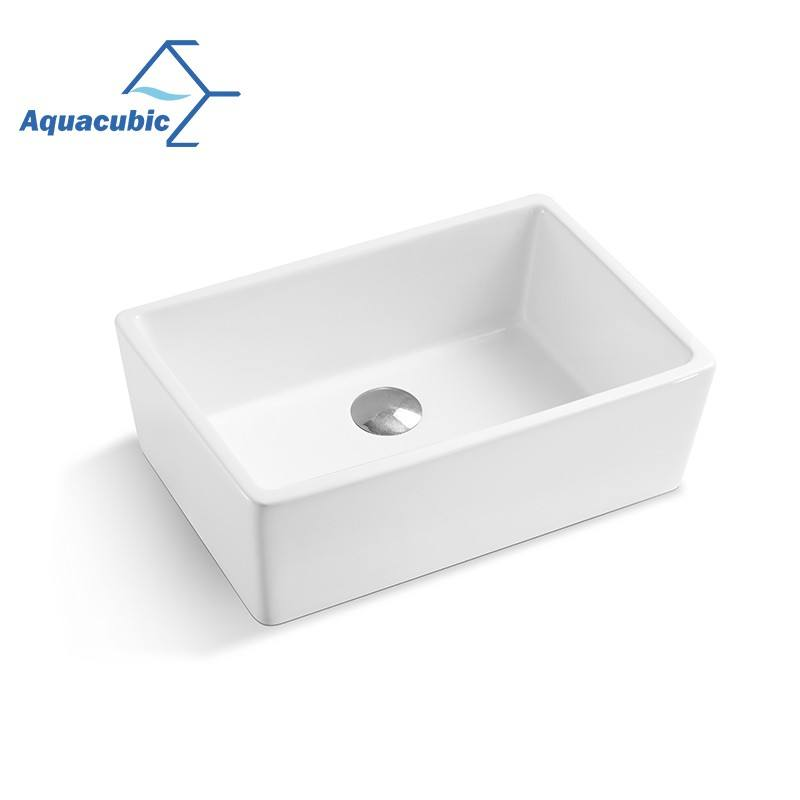 Aquacubic White Square Farmhouse Single Bowl Undermount Fireclay Ceramic Kitchen Sinks