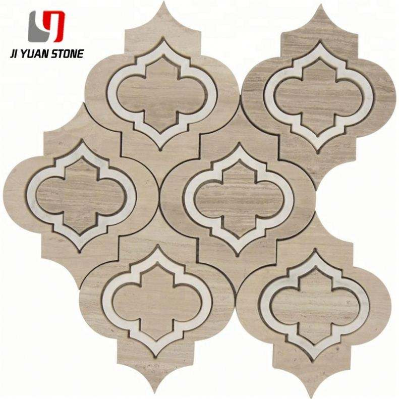 Sale Price Waterjet Natural Stone Tiles Arabesque Mosaic Tile For Project