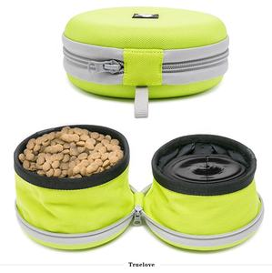 Dog 2 in 1 training water pet snack food pouch bag portable dog travel water bowl with stand
