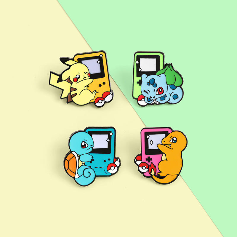 Hot selling Student cartoon game pins Pikachu game brooch cute pin cushion