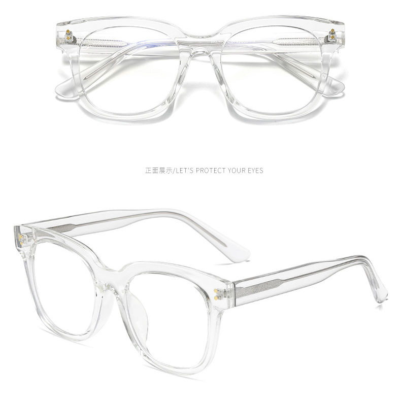 High Quality TR90 Frame Propanoic Acetate Temples Square Blue Light Blocking Glasses Eyeglasses