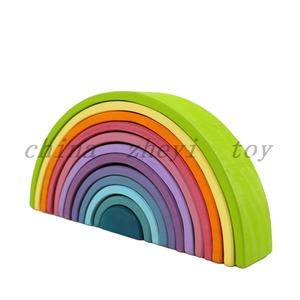 Factory sale kids grimms rainbow stacker wooden toy custom baby grimms wooden rainbow building blocks toys in china