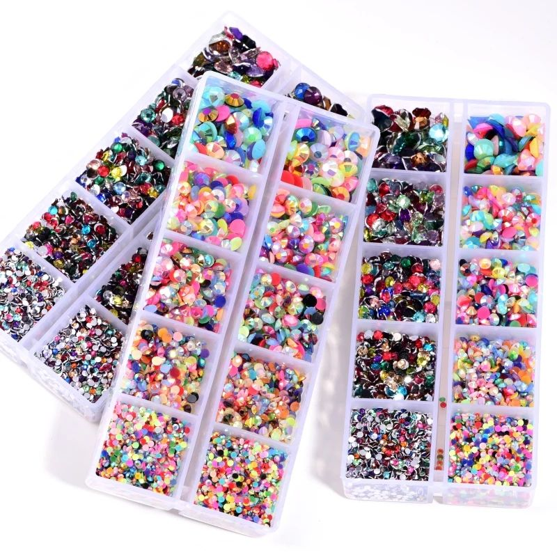 New year 5000pcs/Box Plastic Resin Flatback Non HotFix Rhinestones Mix Colors Manicure set Rhinestone for Nail Art Salon