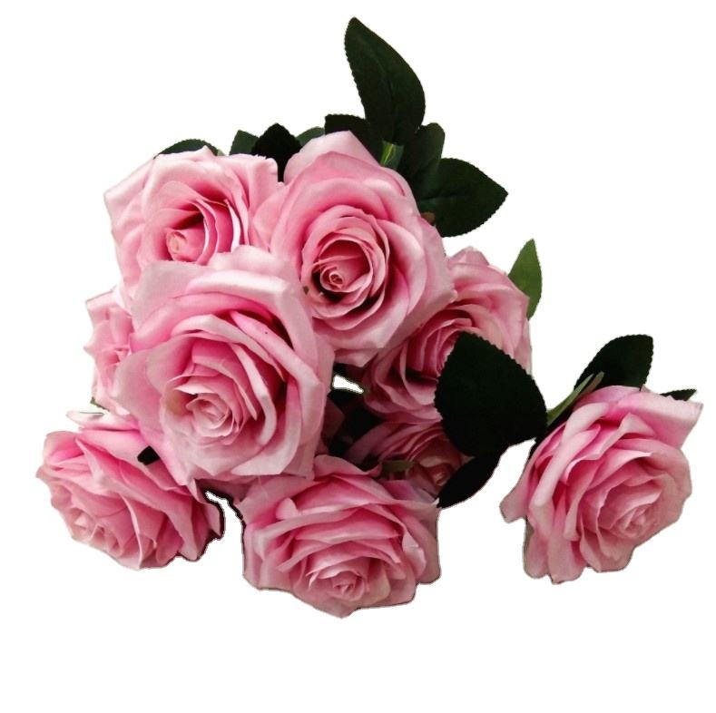 Colorful artificial flower silk plastic rose bouquet with favourable price