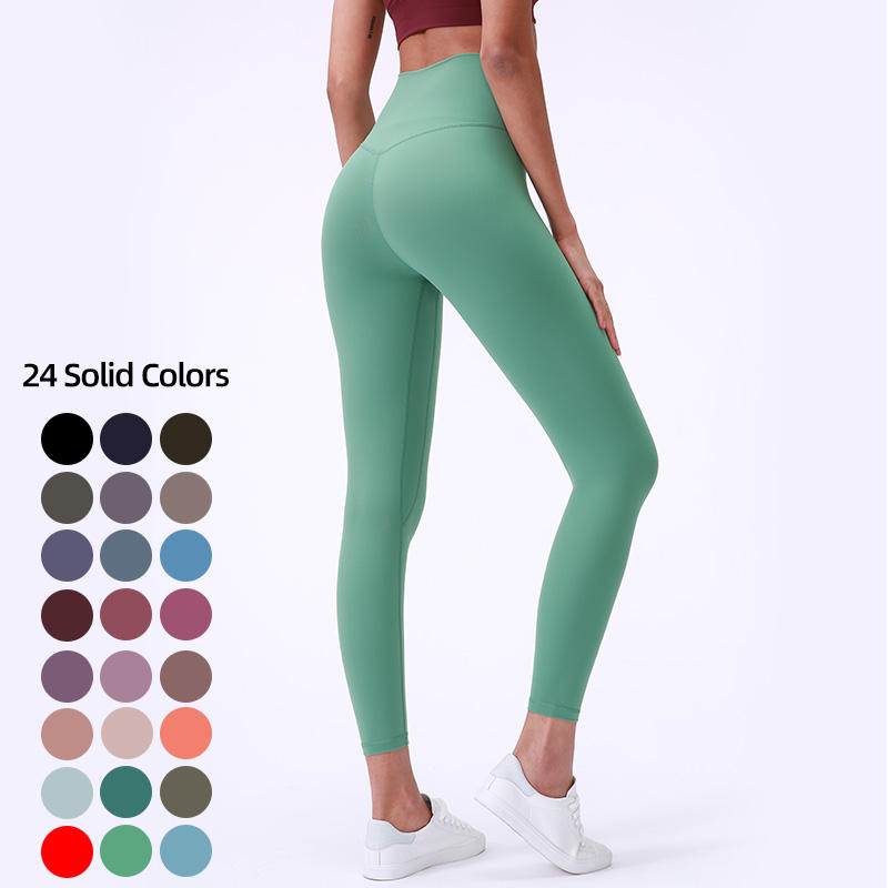 Neon color 80%Nylon 20% spandex buttery soft V high waist workout fitness yoga wear tight pants leggings for women