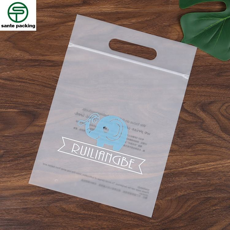 Biodegradable Matte Plastic Peva Shoes Clothing Zipper Packaging Bag With Hanger