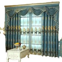 European Luxury Window Embroidered Curtains And Drapes Blackout Chenille Fabric Cortinas Curtains For The Living Room