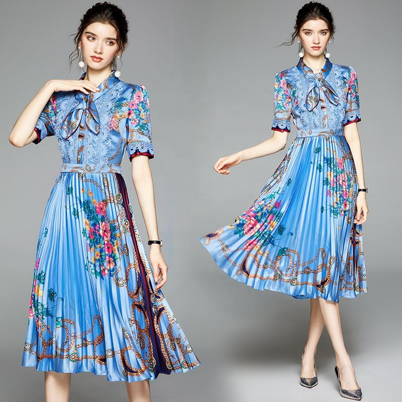 In stock sales 2021 spring new fashion women's temperament printing and lace water-soluble flowers pleated casual dress