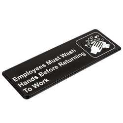 "9"" x 3"" Employees Must Wash Hands Before Returning to Work Sign Great for Restaurants Salons Hotels and Motels Gas Stations"