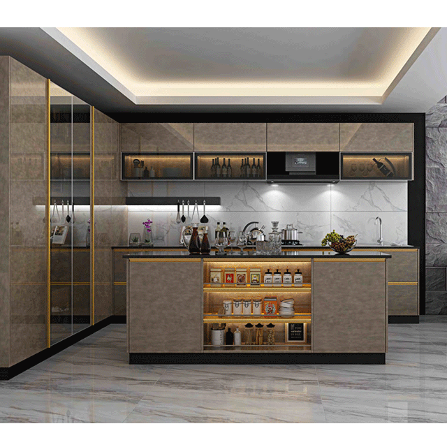 Xinzhijia Factory European Modern Design Durable MDF Kitchen Cabinets Cupboards with countertops