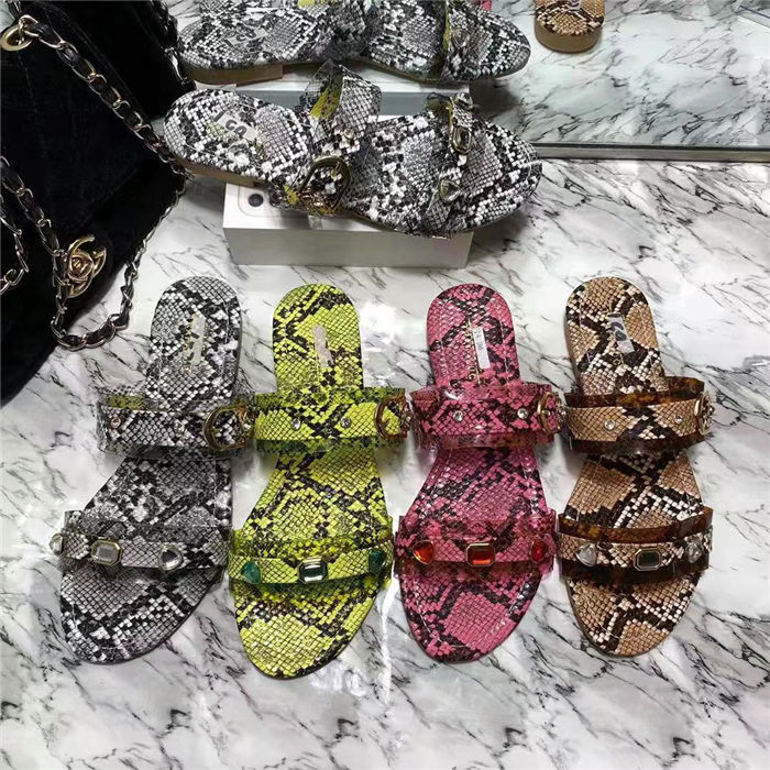 High quality girls snake skin shoes sandals new design flat shoes ladies slipper women slides
