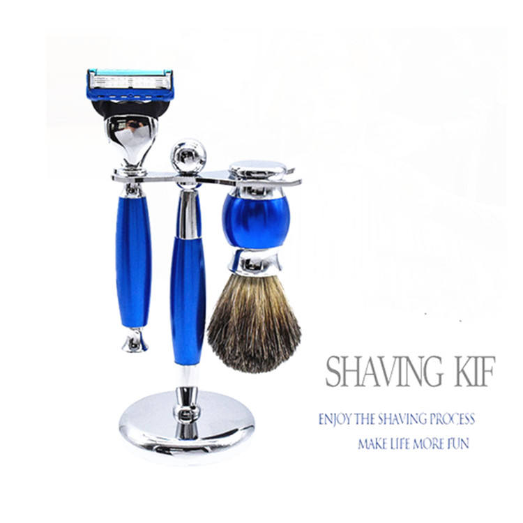 High quality beard care razor shaving set with stand and beard brush set