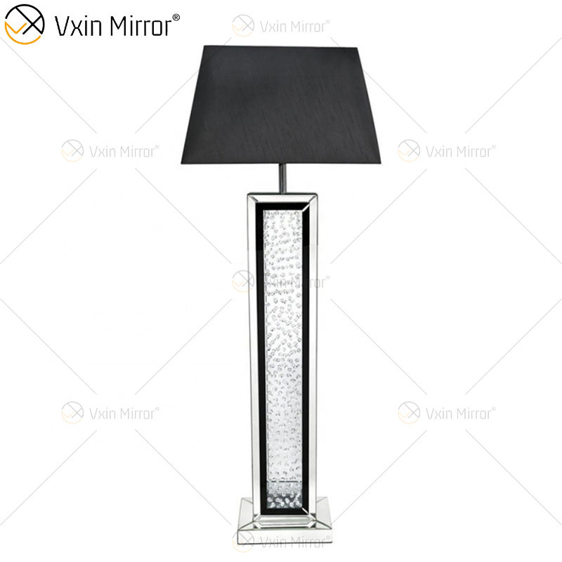 Black frame WXFL-060 Living room elegant Silver Modern crystal 3D Mirrored Floor Standing Lamp