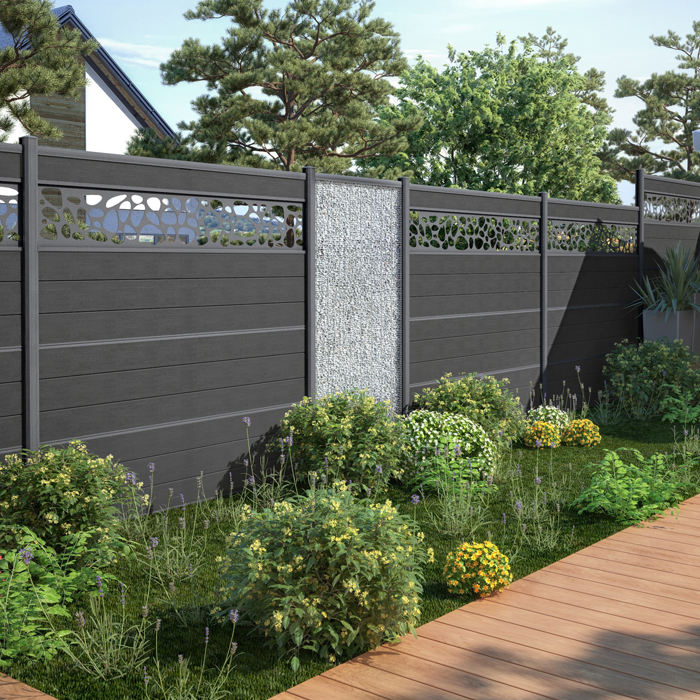 Home garden exterior UV resistant and waterproof aluminium fencing post frame wood plastic composite wpc fence panels