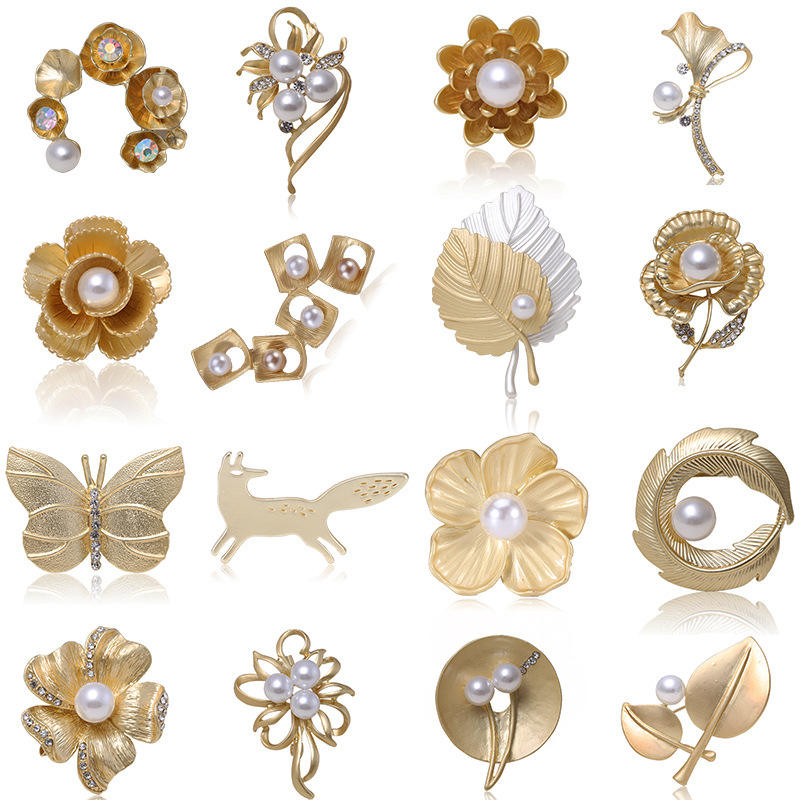 Korean Version Metal Leaves Gold Flower Feather Plant Bowknot Pearl Crystal Brooch Set Custom Women Jewelry Brooches Pins