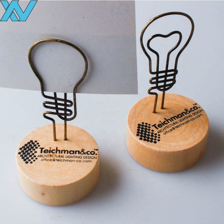 Happiness family light bulb shape wooden base memo clips with LOGO printing on