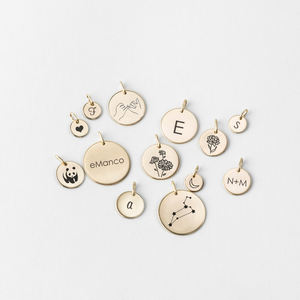 Designer Logo Round Gold plated Alphabet Disc Charms Pendants Stainless steel Jewelry Necklace Making Accessories