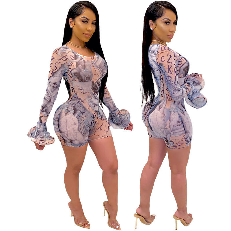 jofz1433 women mesh see through long sleeve jumpsuit