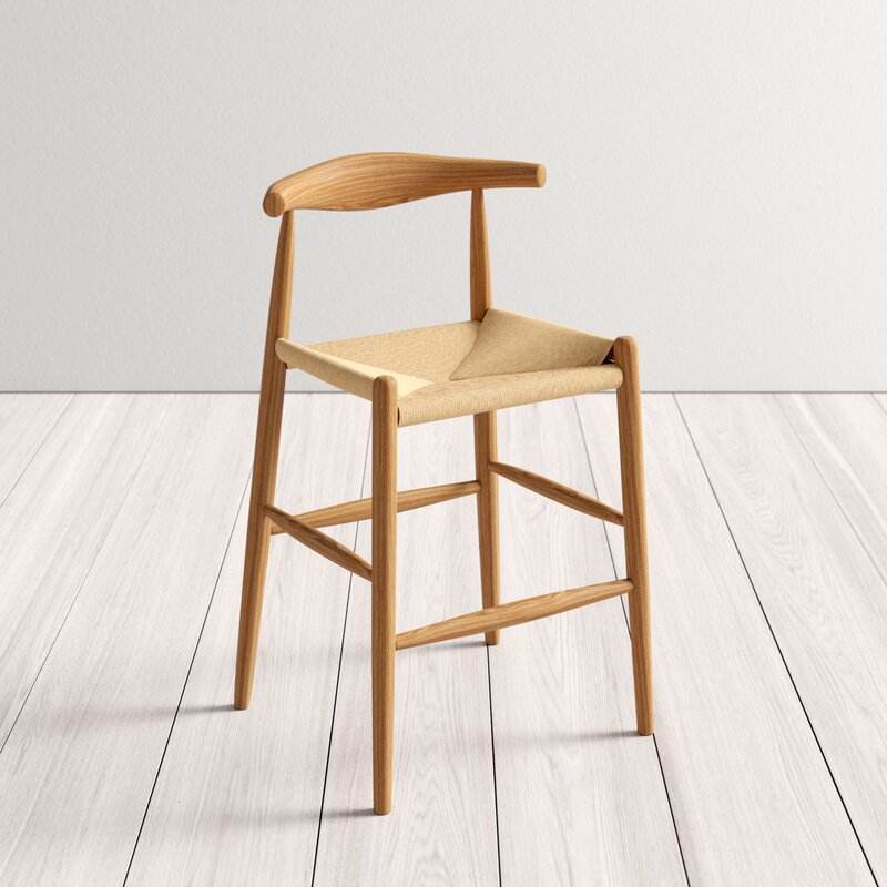 Fashion Ash Wood Cow Bar Chair with Arm for Restaurant Furniture Factory Customize Luxury Bar Stool
