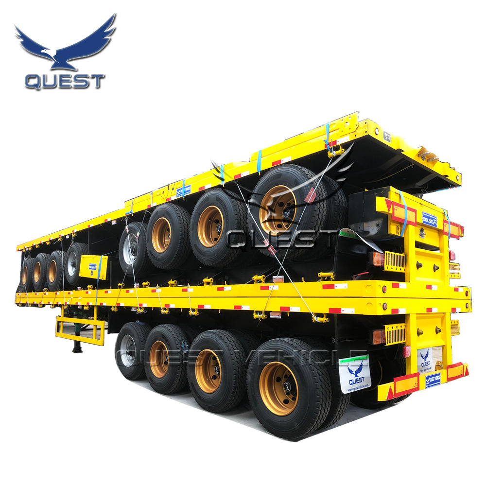 QUEST 4 Trục 80ton 40 Ft 45ft Phẳng Giường Phẳng Container Bán Trailer Sử Dụng Xe Tải Trailer Cho Ghana