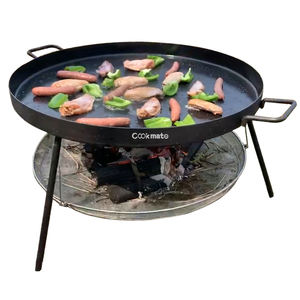 2020 supper capacity Reversible firewood pit and charcoal dual purpose portable round griddle grill pan with wire mesh basket