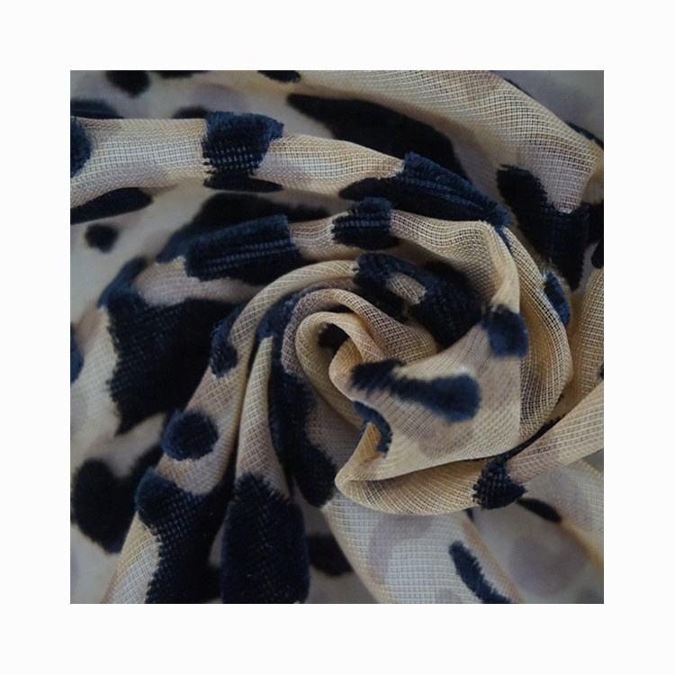 Wholesale Leopard print in thin camouflage Woven polyester velvet burnt-out fabric for dress home wear