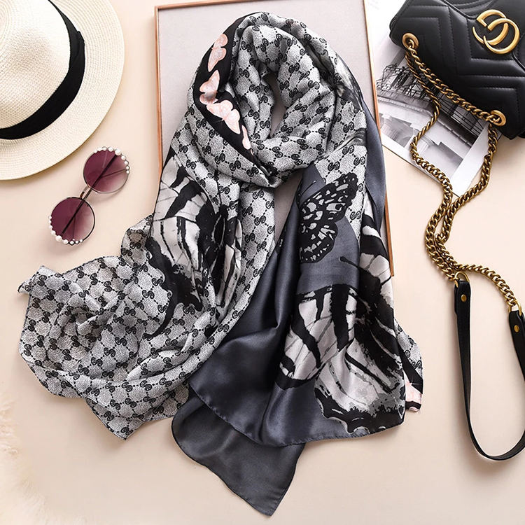 Wholesale New Custom Luxury Women Winter Warm Long Neck Scarves Quality Soft Wide Shawls Brand Printed Scarf