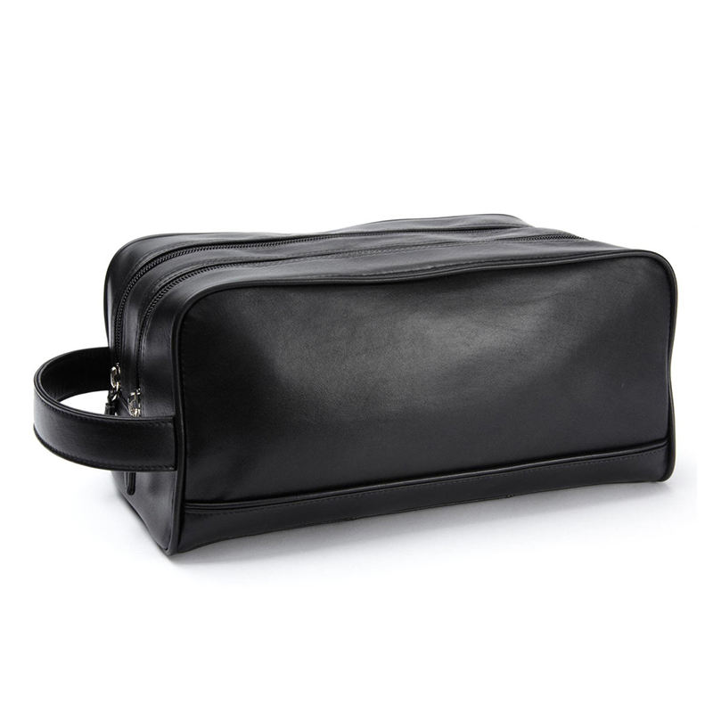 Top Grain Leather Double Zipper Toiletry Bag Beautiful Travel Cosmetic Makeup Bgas Unisex Customize Logo Perfect Design Pouch