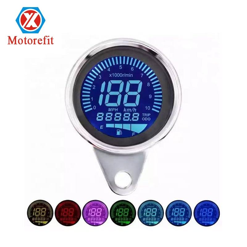 RTS Universal Digital Motorcycle LCD Screen Speedometer Odometer 7 Color Backlight for 1-4 Cylinders Motorcycle