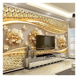 Customized wall mural 3D 5D 8D 16D  embossed wall decoration  for home TV background