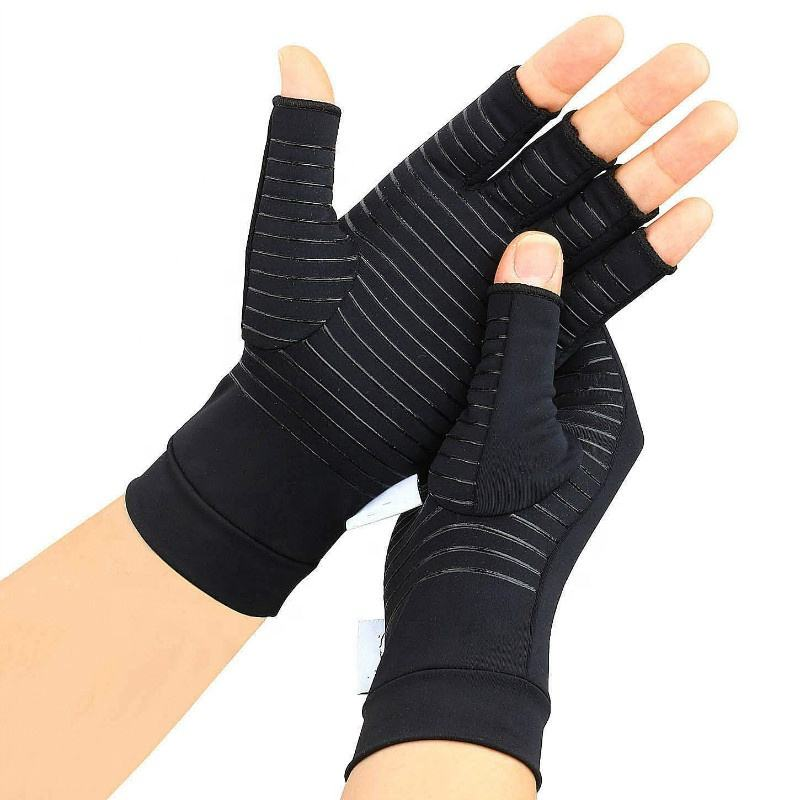 Fingerless Hand Women Men Carpal Tunnel Osteoarthritis Computer Typing Copper Compression Arthritis Gloves
