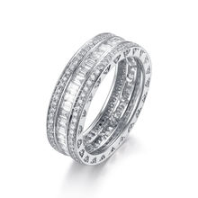 Sunstar Jewelry Custom 9K 14K 18K White Yellow Rose Gold  Platinum Real Diamond Wedding Eternity  Ring Band Jewellery For Women