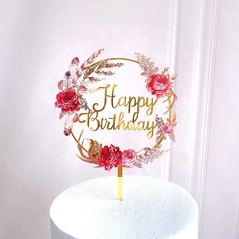 Nicro Exquisitely Crafted New Design Flower Birthday Cake Topper Decoration For Wedding And Happy Birthday