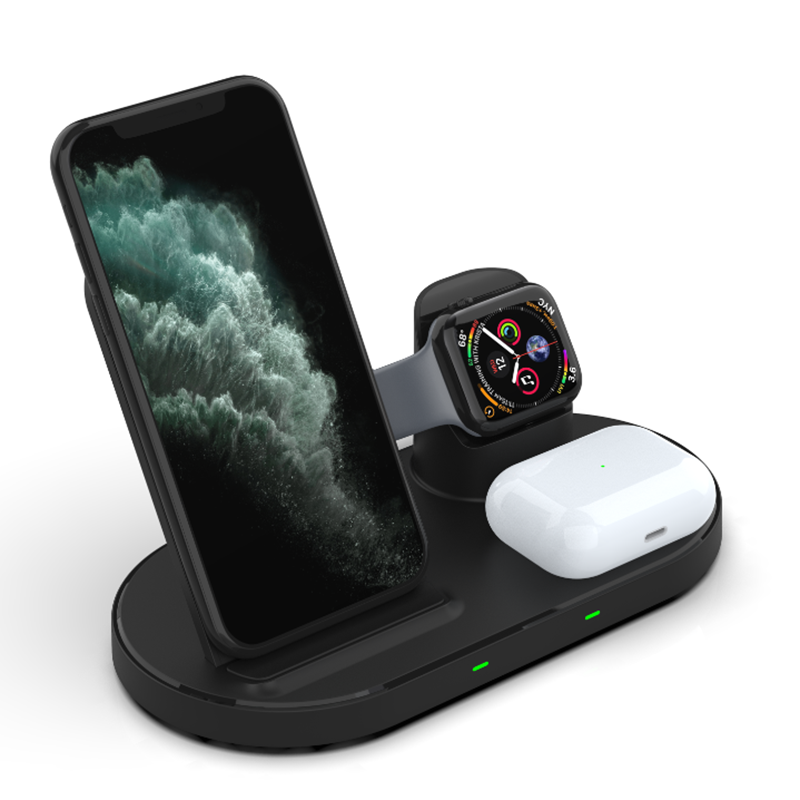 Retractable Design 3 in 1 Fast Charging 15W Wireless Charger for Mobile Phone/Watch/Headset