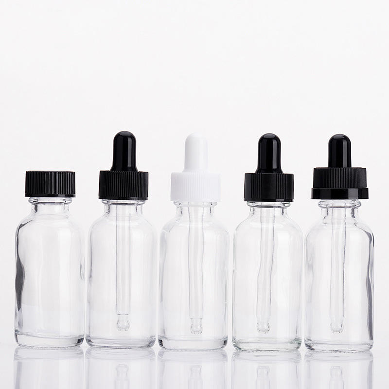 e liquid 1oz 2oz 4oz clear amber green blue matte black white boston glass dropper bottles with dropper