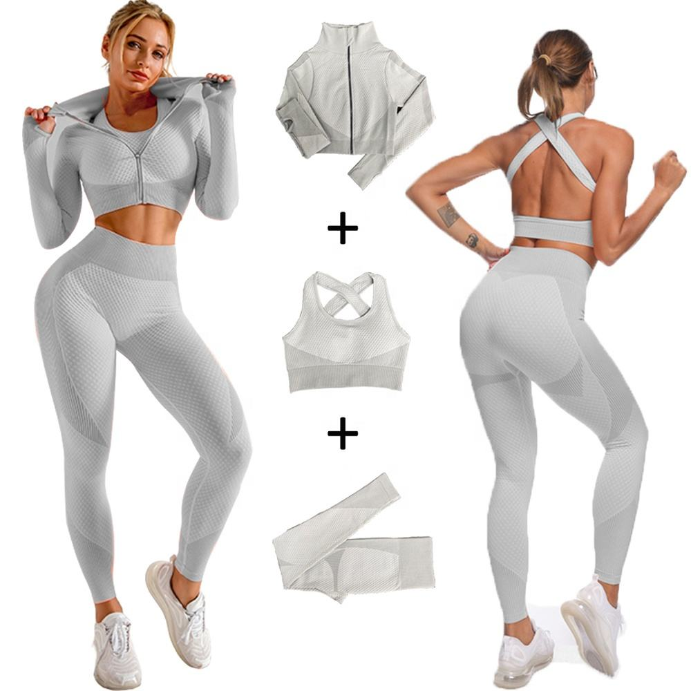3PCS New Colors Grey Sports Gym Clothes Women Gym Seamless Yoga Set & Workout Sets