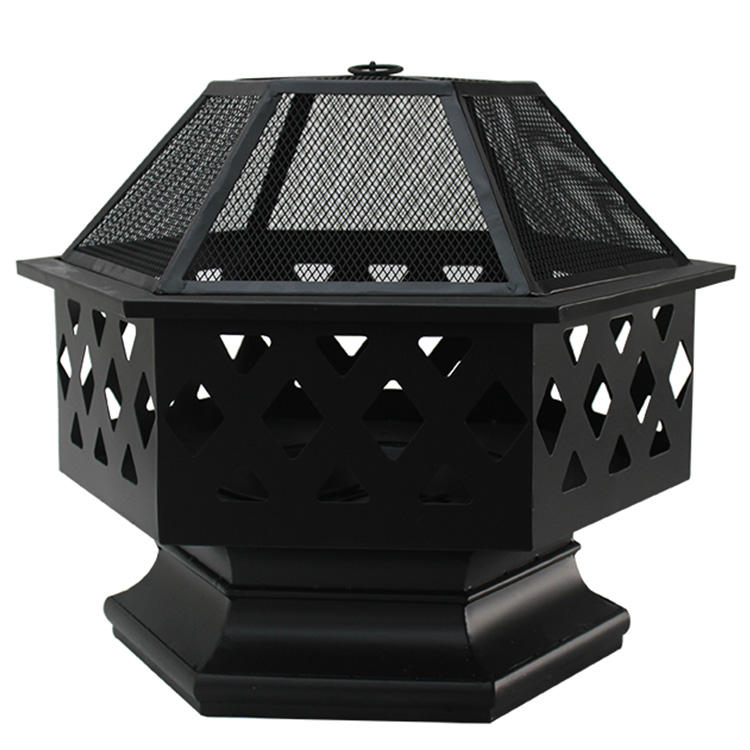 Hexagon customize design outdoor wood fire pit with BBQ grill