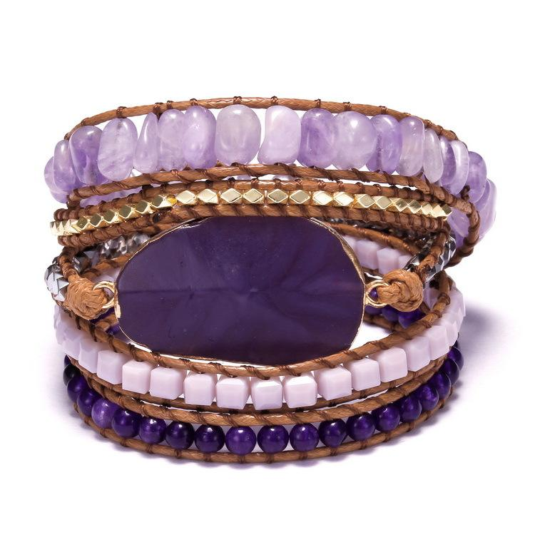 ZXS004 Trade assurance 5 layers amethyst bracelet blue turquoise natural stone Indian crystal knot bracelet handmade jewelry