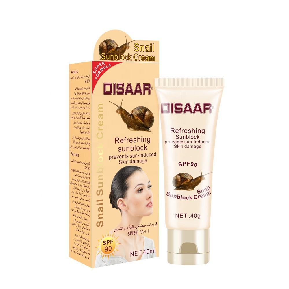 Dissar Sunblock Lotion Waterproof Moisturizing Snail Extract Protection SPF 90 Sunscreen Cream