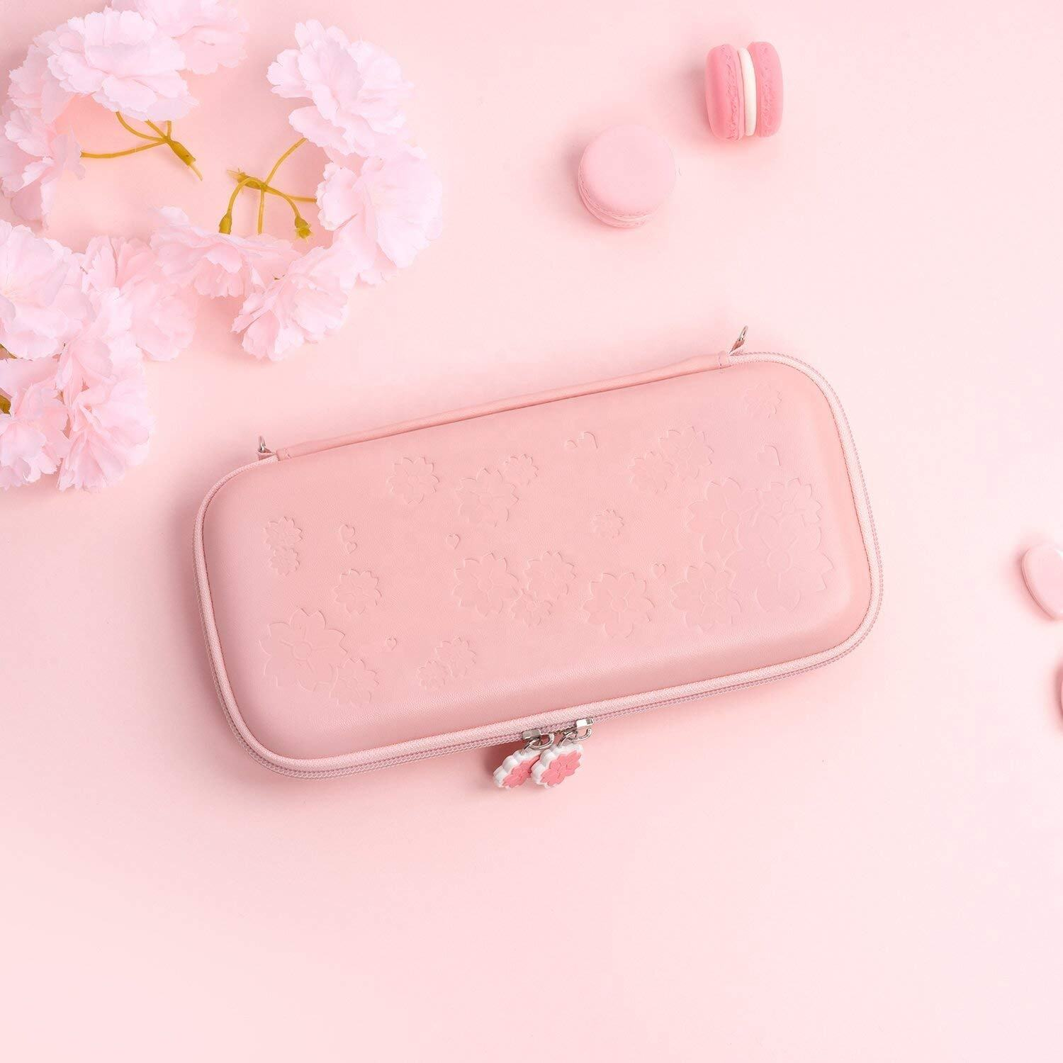 2020 Ultra Slim Portable Hard Shell Travel Case for NS Console and Accessories Sakura Pink Carry Case for Nintendo Switch