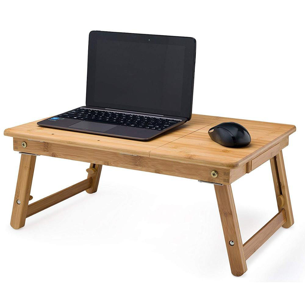Bamboo Laptop Stand Adjustable Portable Computer Table with Drawer on Bedroom