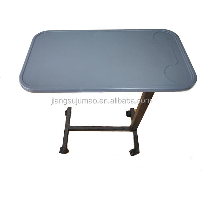 JM0603 Adjustable Hospital Steel Overbed Table With Plastic Top For Hospital