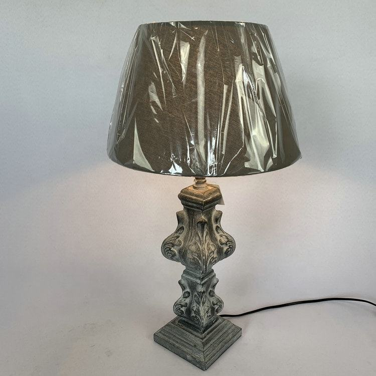 Engraving wooden table lamp in natural distress for bedside