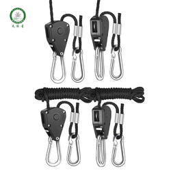 "Rope Ratchet Light Hanger, with Metal Crimp 1/4"" 150LBS 6ft Rope Indoor Garden Plant Growing Tent Hanger Sling Wire/"