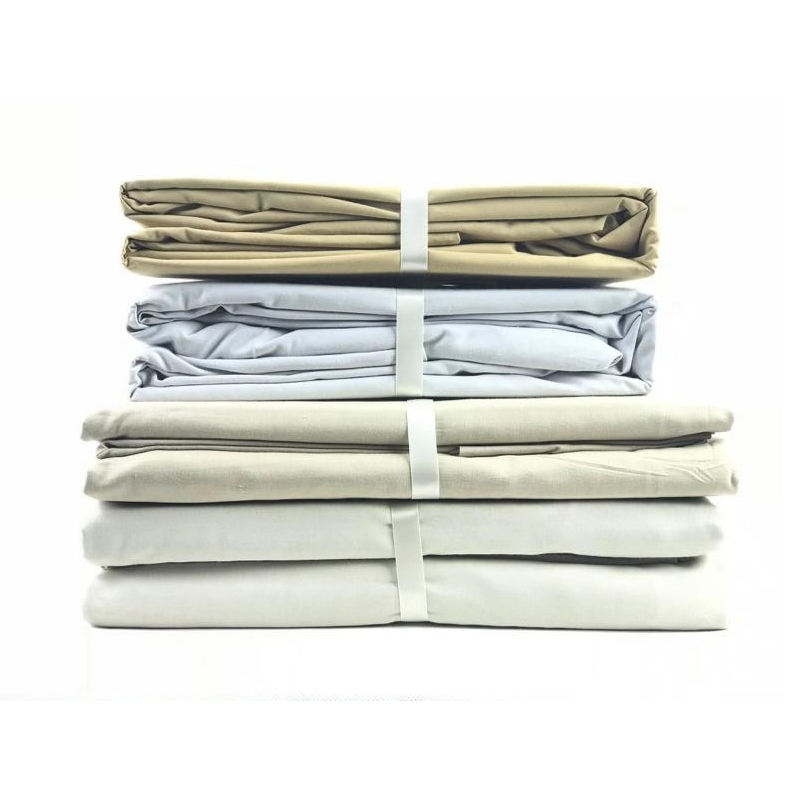 Soft 100% 400TC Cotton Fabric Fitted Bed Sheets