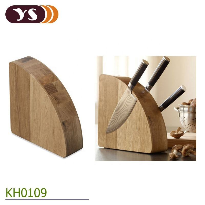 High Quality Simi-Circle Oak Wood Magnetic knife block