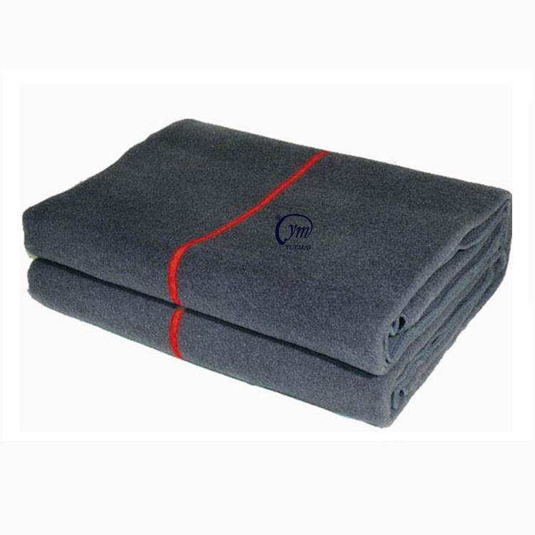 Wholesale Custom Heavy Thermal Solid Color Knit Brushed Recycled Soft Polyester Wool Cotton Emergency Military Blanket For Army