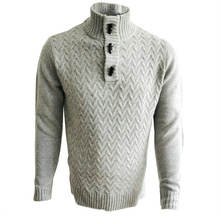 Leadown OEM Vintage Mens Pullover Wool Crewneck Sweater With Yak Buttons