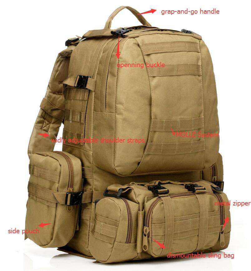 wholesale polyester 50-60L Outdoor Military Molle Tactical Backpack Rucksack Camping Hiking Travel Bag