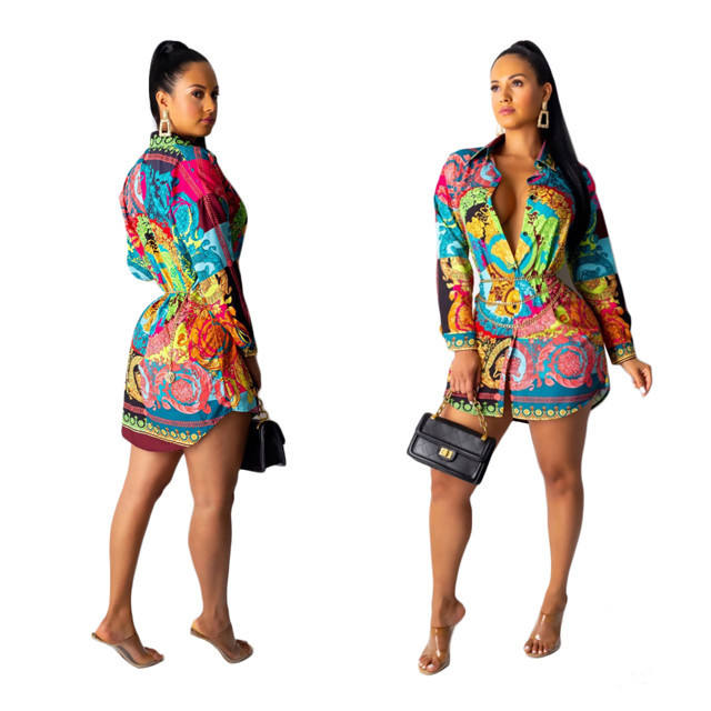 TOB Women Long Sleeve Casual African Dress Hot Sale Printed Shirt Skirt Dress